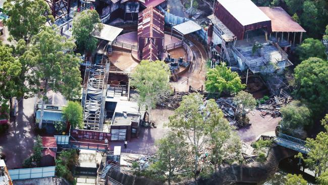 Dreamworld's Thunder River Rapids Ride being torn down. Picture: Nigel Hallett