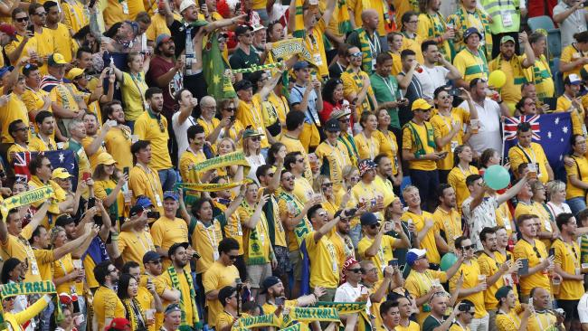 Australian fans cheer as they wait the kickoff of the group C match between Australia and Peru in Sochi.  Picture: Efrem Lukatsky/AP