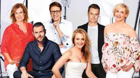 Gold Logie nominees (from left): Tracy Grimshaw, Rodger Corser, Andrew Winter, Jessica Marais, Grant Denyer and Amanda Keller.