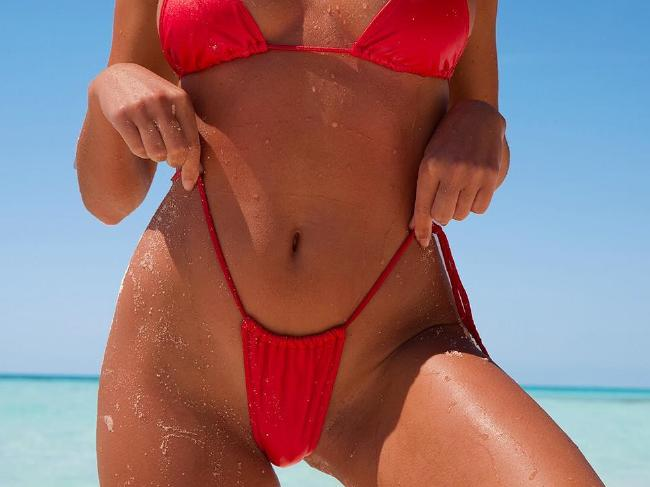 The drawstrings on the bikini leave little to the imagination.