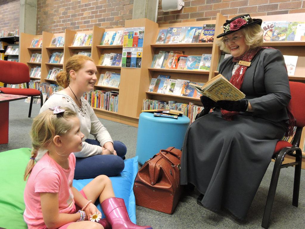 Breanna and Amelia Appleton with Maryborough's own Mary Poppin's Carmel Murdoch.