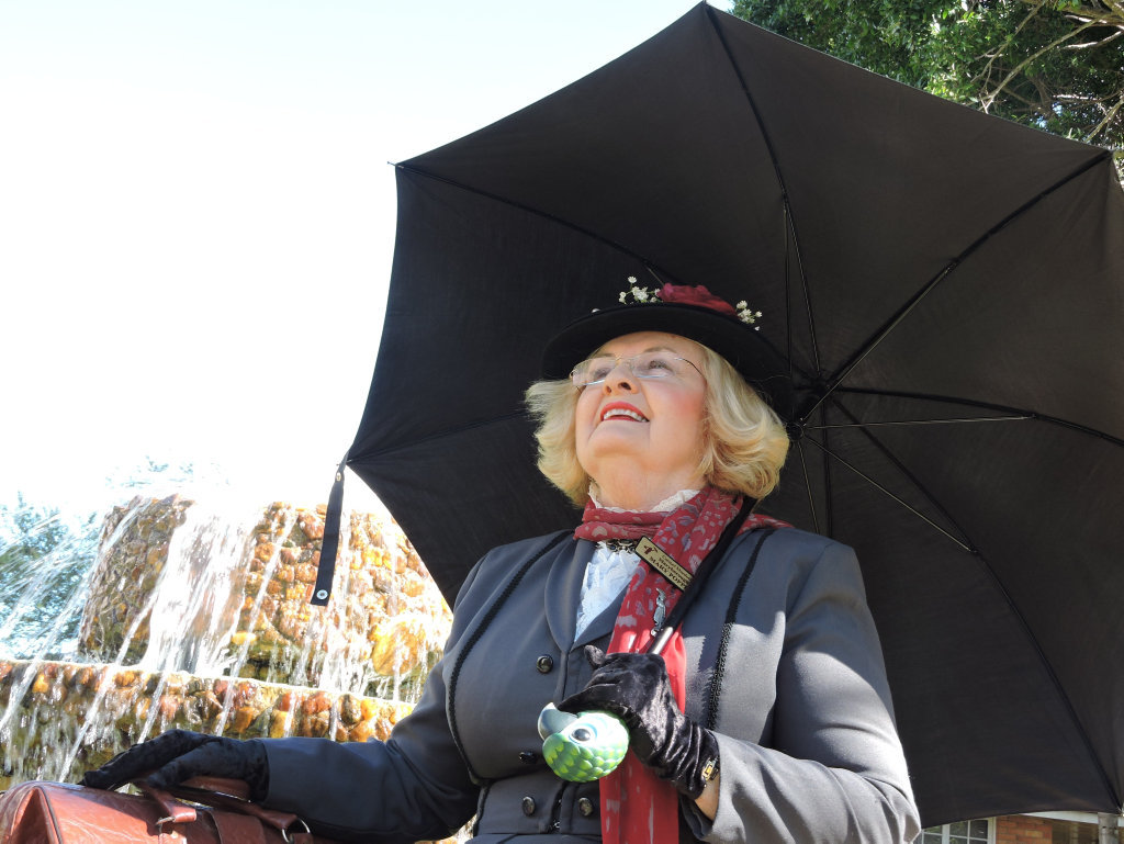 Carmel Murdoch, also known as Mary Poppins, ahead of Maryborough's festival in honour of the literary heroine.