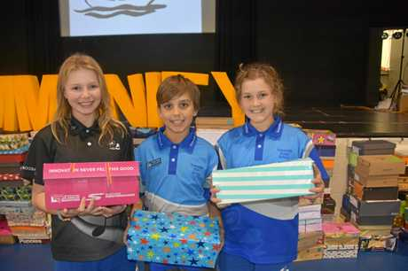 PARCELS OF CARE: Year 6 student leaders from Tewantin State School at their annual shoebox donation, where the school community puts together special educational packs for children in East Timor.