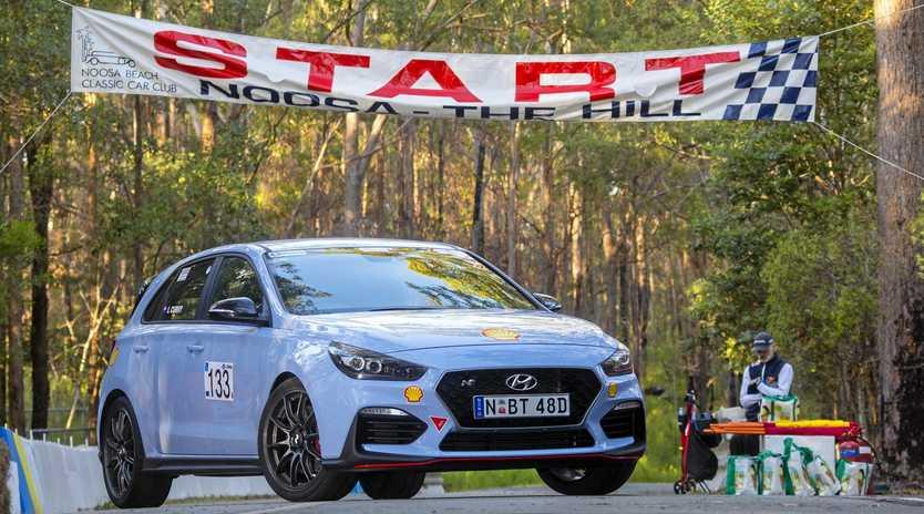 Iain Curry gets behind the wheel of the Hyundai i30N at the Noosa Hill Climb.