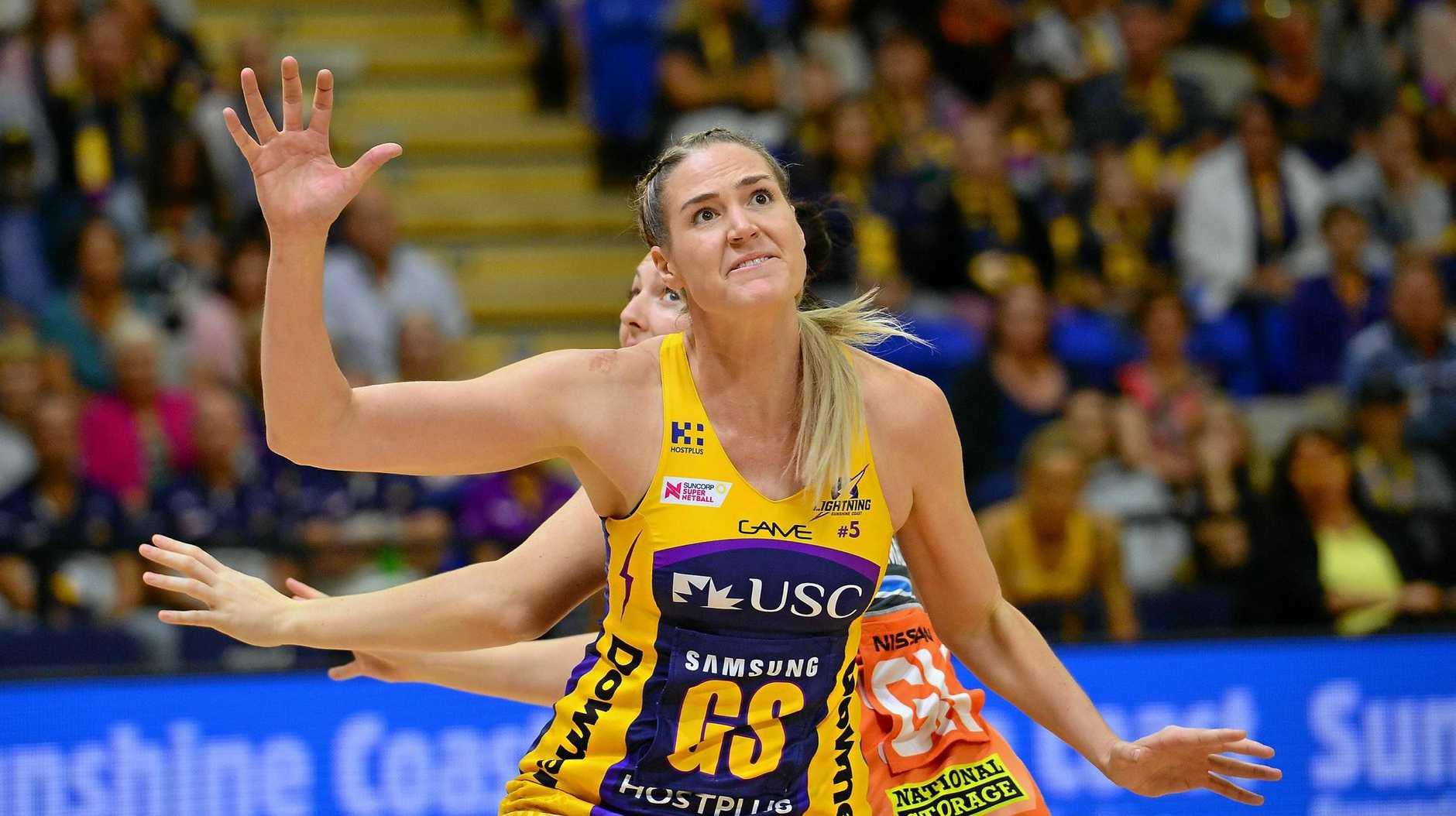 GOAL SHOOTER: Caitlin Bassett in action at University of the Sunshine Coast against the Giants.