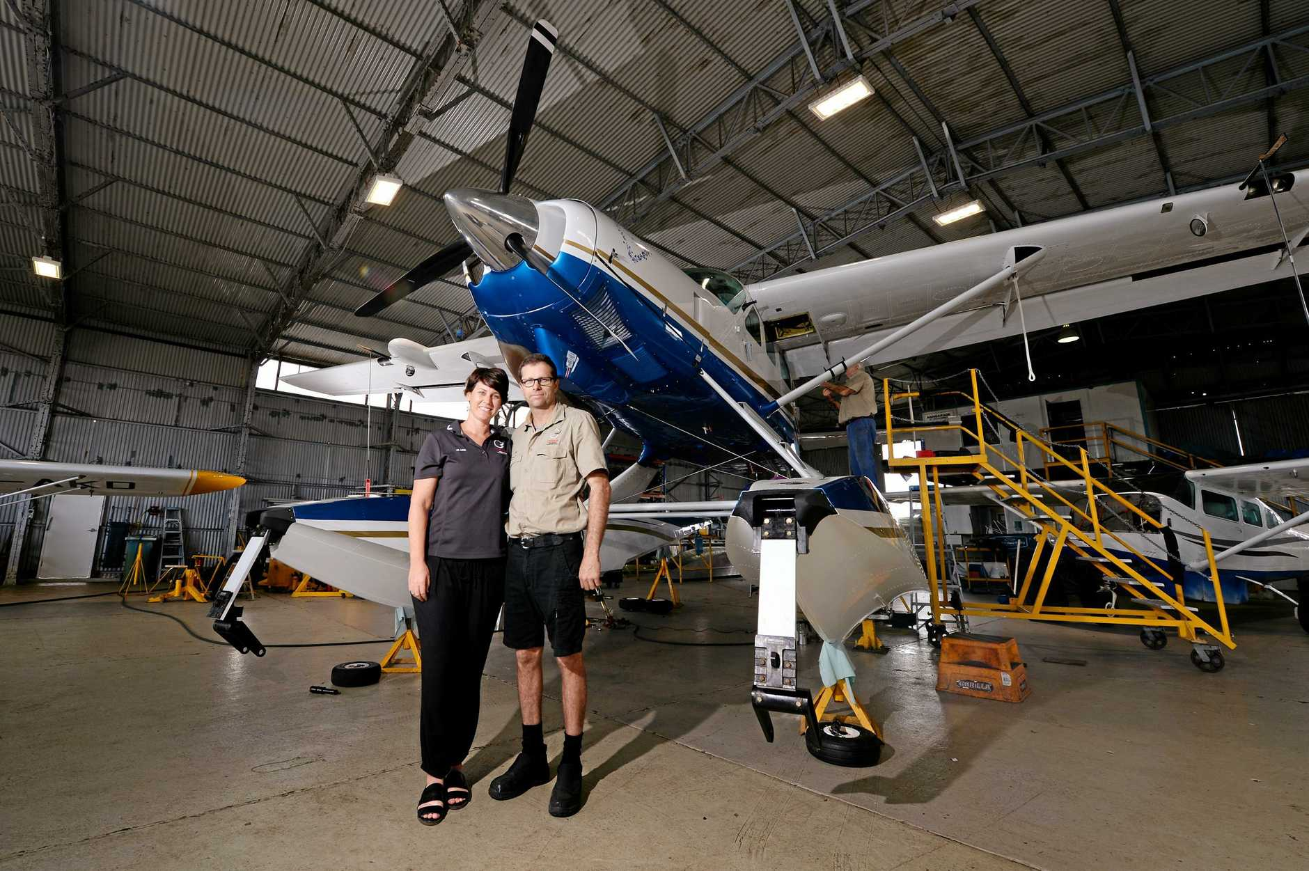 Chrisair aircraft maintenance at Mackay airport. Claire and Dan Christensen