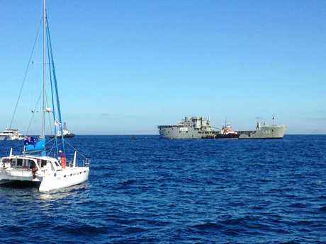 The ex-HMAS Tobruk is ready to be scuttled.