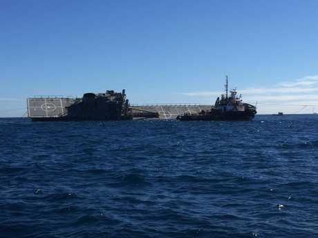 SINKING FEELING: Ex-HMAS Tobruk makes its way to the bottom of the ocean.