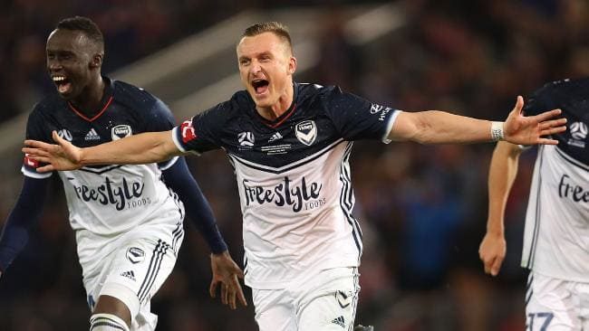 Besart Berisha has sensationally quit the Victory to link with Ange Postecoglou in Japan. Picture: Getty