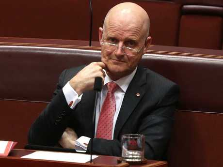 Senator David Leyonhjelm in the Senate Question Time in the Senate Chamber, Parliament House in Canberra. Picture Kym Smith