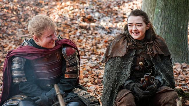 Ed Sheeran, left, and Maisie Williams in Game of Thrones. Picture: Helen Sloan/HBO via AP)