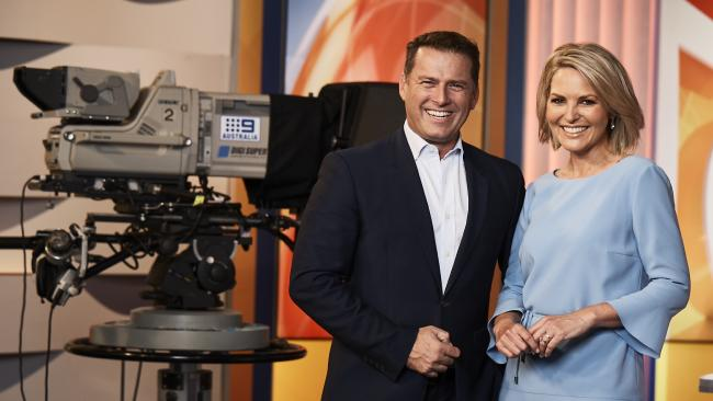 Karl Stefanovic and Georgie Gardner on the set of the Today show.