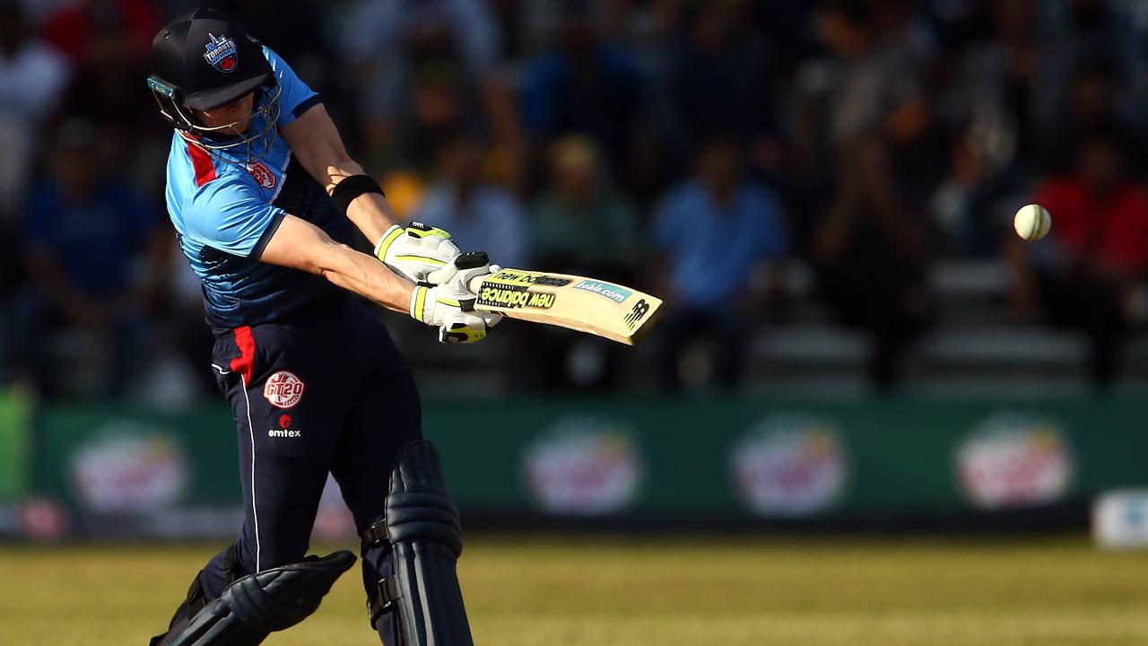 Steve Smith hits out in his return to cricket. Picture: Getty.