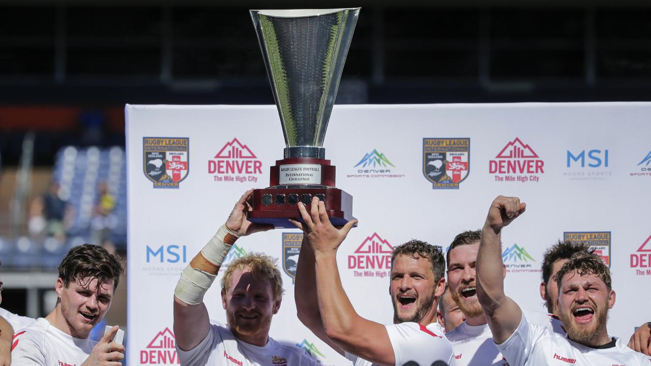 England players celebrate their Denver win. Picture: AP