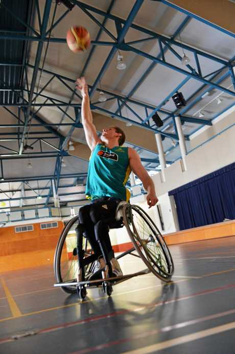 Steven Elliott while he was captain of the Queensland under 23 Rolling Thunder Wheelchair Basketball Team.