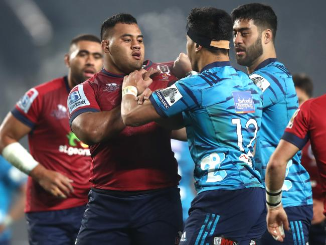 Tongan Thor takes umbridge with a Blues player. Picture: Getty Images