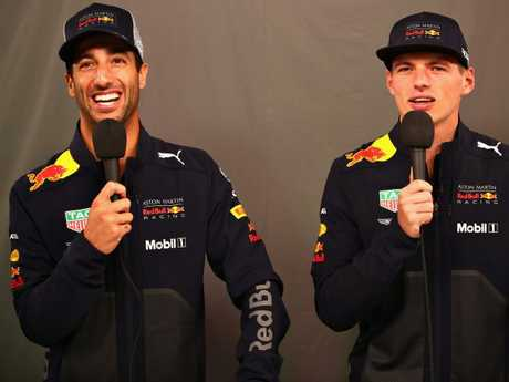 Teammates again. Daniel Ricciardo and Max Verstappen. Picture: Mark Thompson/Getty Images