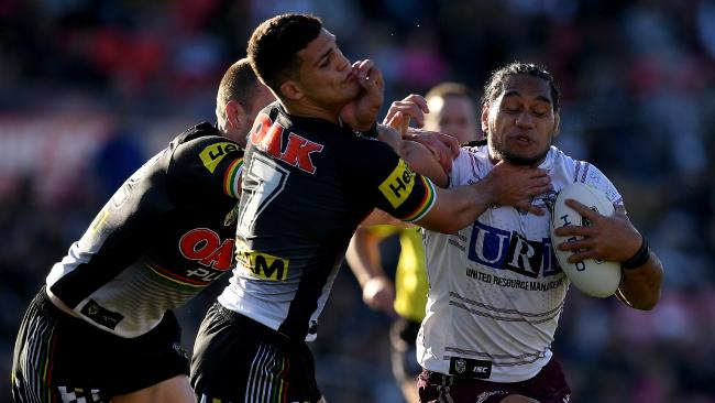 The Sea Eagles caused a major upset against premiership contender Penrith. Picture: Dan Himbrechts/AAP