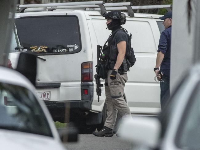 A SERT officer on standby. (AAP Image/Glenn Hunt)