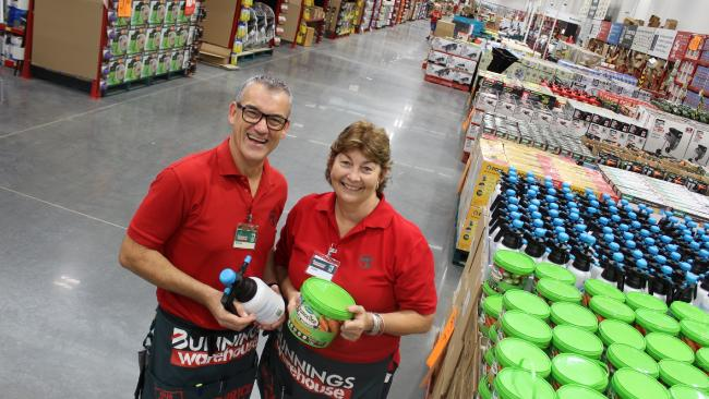 Wayne Loft and Leisha Robinson at the new Bunnings Warehouse Keperra which opened earlier this year. Picture: Glenn Roberts
