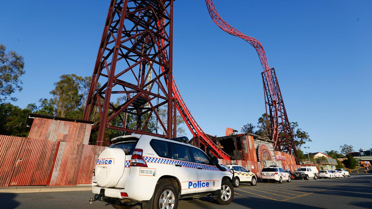 Emergency crews outside Dreamworld on the day of the disaster. Picture: Jason O'Brien/Getty Images