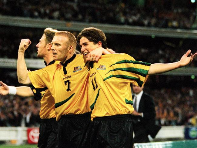 Robbie Slater, left, with Harry Kewell in 1997. Picture: Greg Porteous