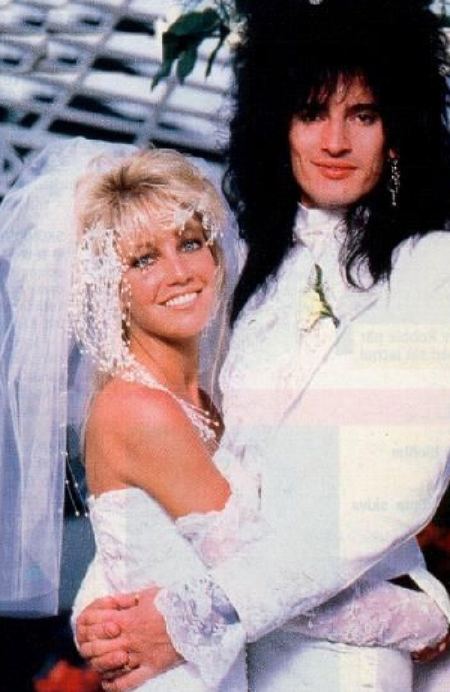 Heather Locklear and Tommy Lee at their 1986 wedding.