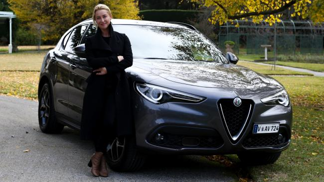 Gold Logie winner Asher Keddie with the Alfa Romeo Stelvio. Picture: Supplied.