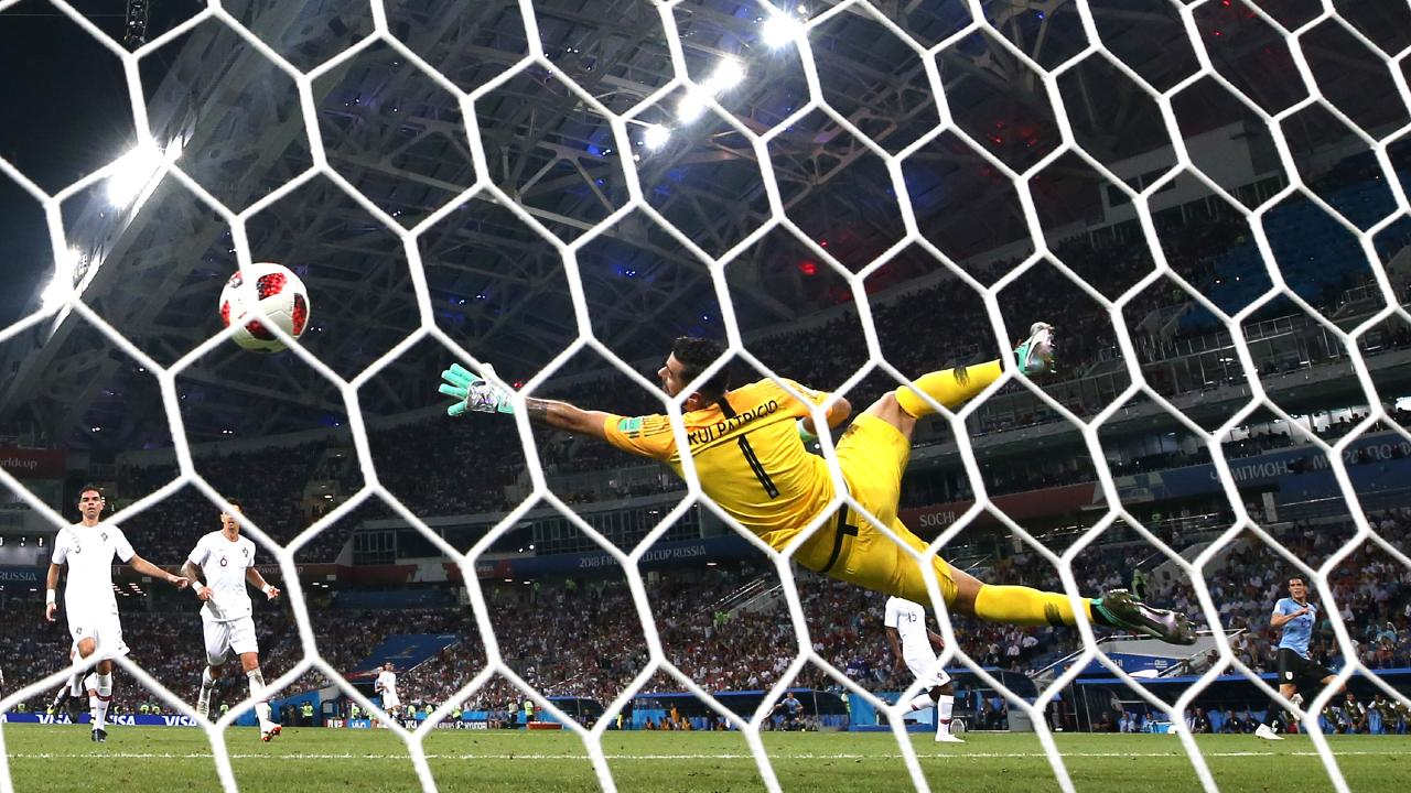 Rui Patricio of Portugal cannot stop Edinson Cavani's goal for Uruguay during the 2018 FIFA World Cup Russia Round of 16 match. Picture: Getty Images