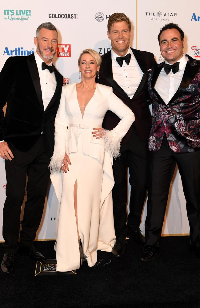 Cast of Ten Network's The Living Room (L to R) Barry Du Bois, Amanda Keller, Chris Brown and Miguel Maestre arrive at the 2018 Logie Awards at The Star Casino on the Gold Coast, Sunday, July 1, 2018. Picture: AAP Image/Dan Peled