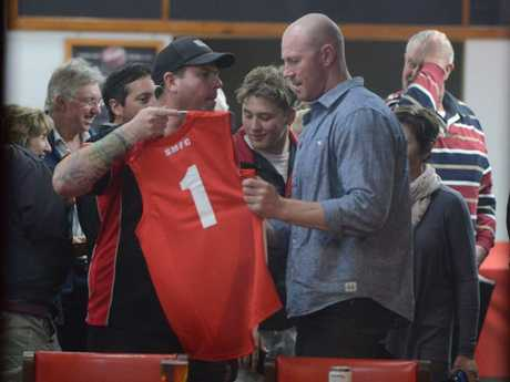 Barry Hall at a football club north of Adelaide last night. AAP Image/ Brenton Edwards