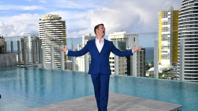 Gold Logie nominee Grant Denyer is seen posing for a photograph at the TV Week Logie Awards Nomination Party at The Star Casino on the Gold Coast, Sunday, May 27, 2018. The 60th TV Week Logie Awards are being held on the Gold Coast for the first time in the history of the annual award for Australia's television industry. (AAP Image/Darren England)