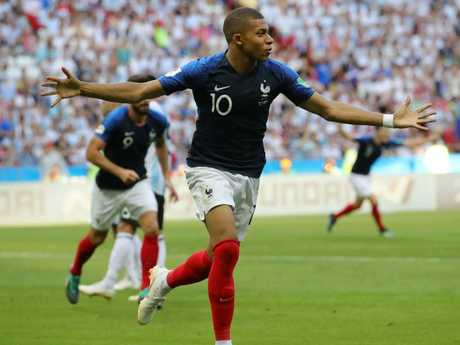 Kylian Mbappe of France celebrates after scoring his team's third goal. Pic: Getty