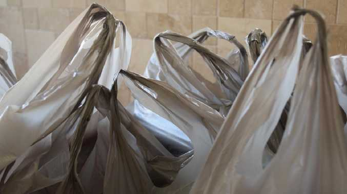 View of grey plastic shopping bags. Picture: iStock