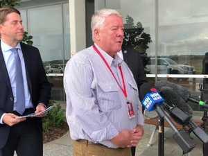 Cameron Dick, John Wagner and Paul Antonio at Wellcamp Airport talking about Qantas
