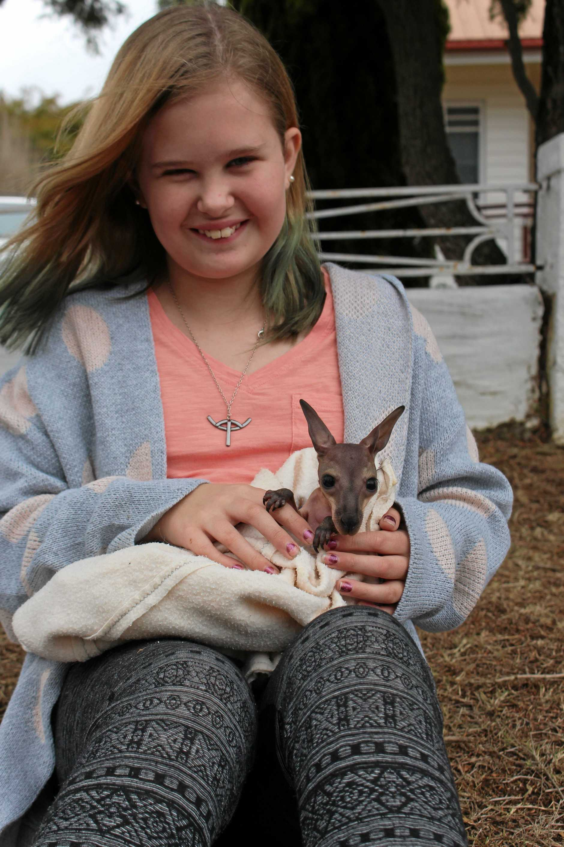 RESCUE ROO: Lily Hughes has been helping take care of 6-month-old