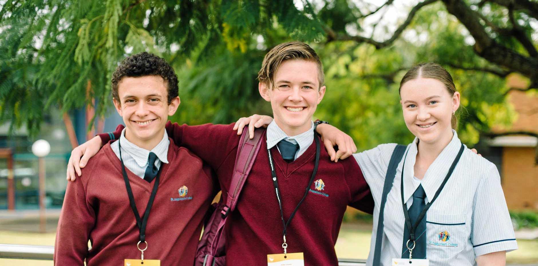 St Augustine's College students Seth Gulielmin, Aidan Gossip and Madeline Higgins.