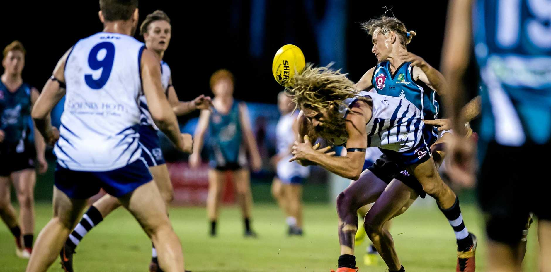 PLAYER SUSPENDED: Gympie Cats captain Lanze Magin received a two week suspension for a melee two weeks ago. This photo was against Bay Power earlier this year.