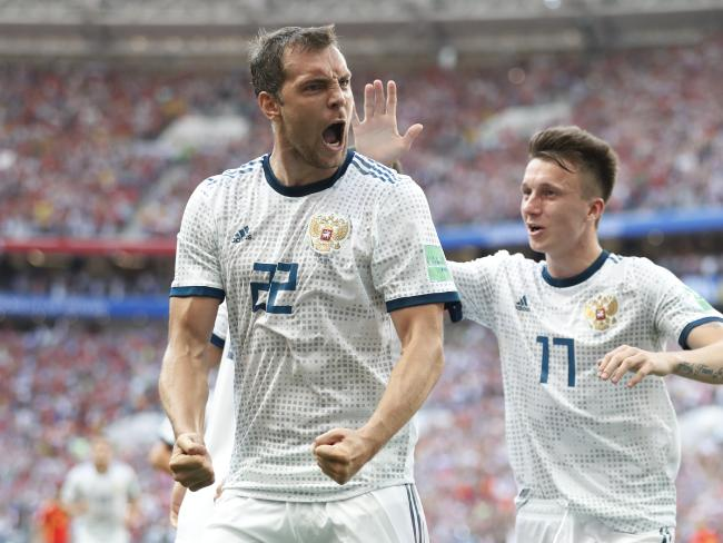Russia's Artyom Dzyuba celebrates scoring his side's opening goal. Pic: AP