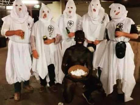 The students dress in KKK outfits and Blackface (above) as well as Holocaust survivor costumes and one went as Adolf Hitler.