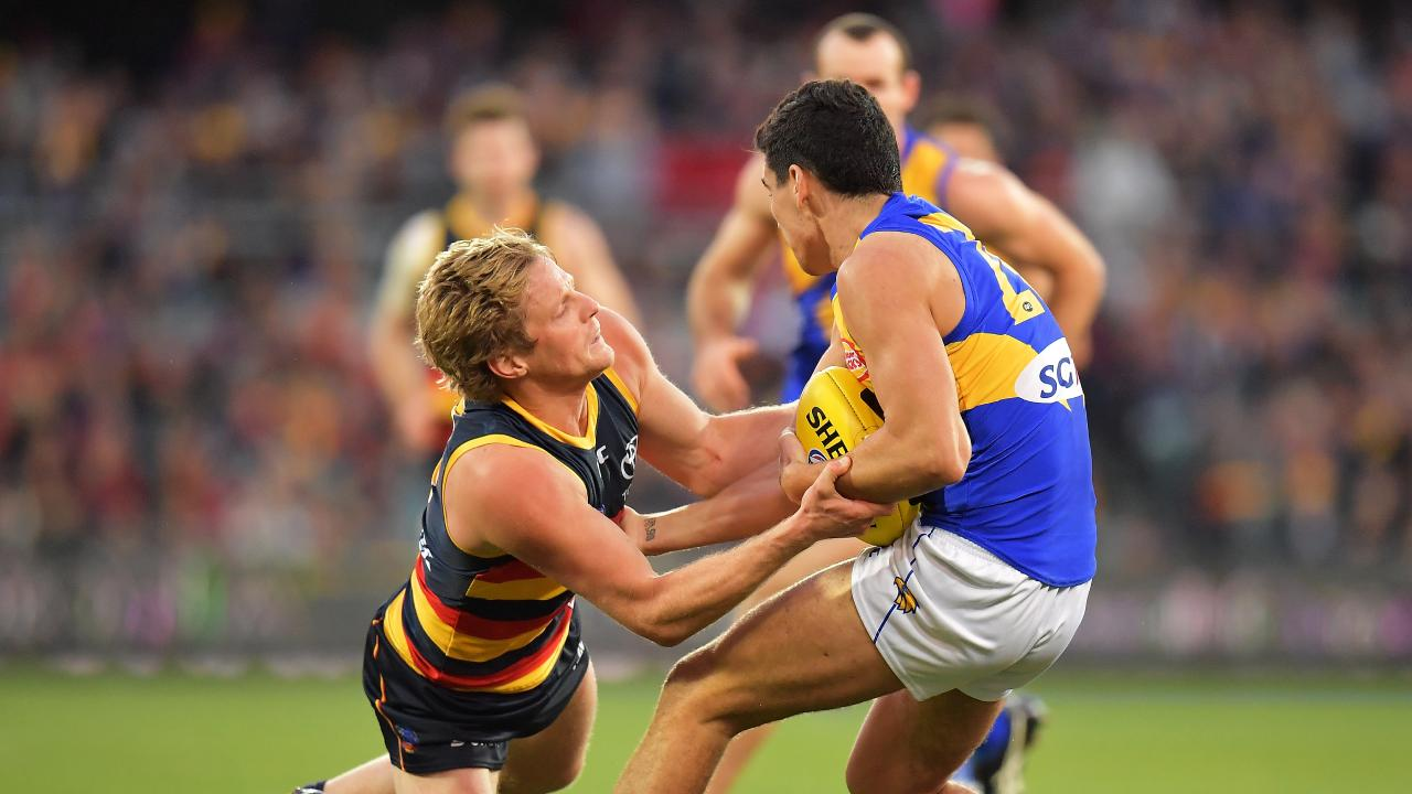 Rory Sloane lays another tackle against the West Coast Eagles. Picture: Daniel Kalisz/Getty Images