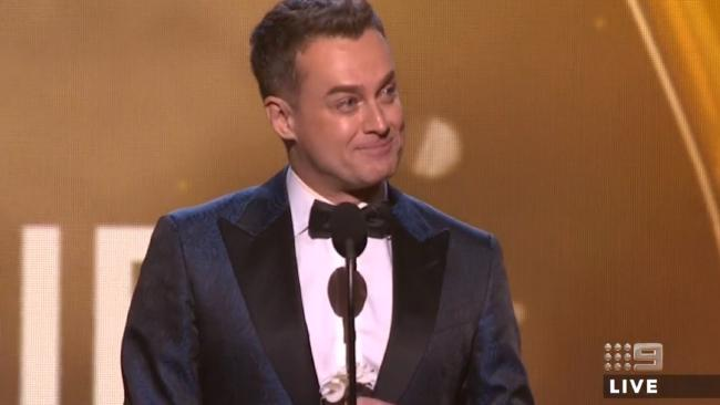 Grant Denyer accepts the Gold Logie in an emotional speech.