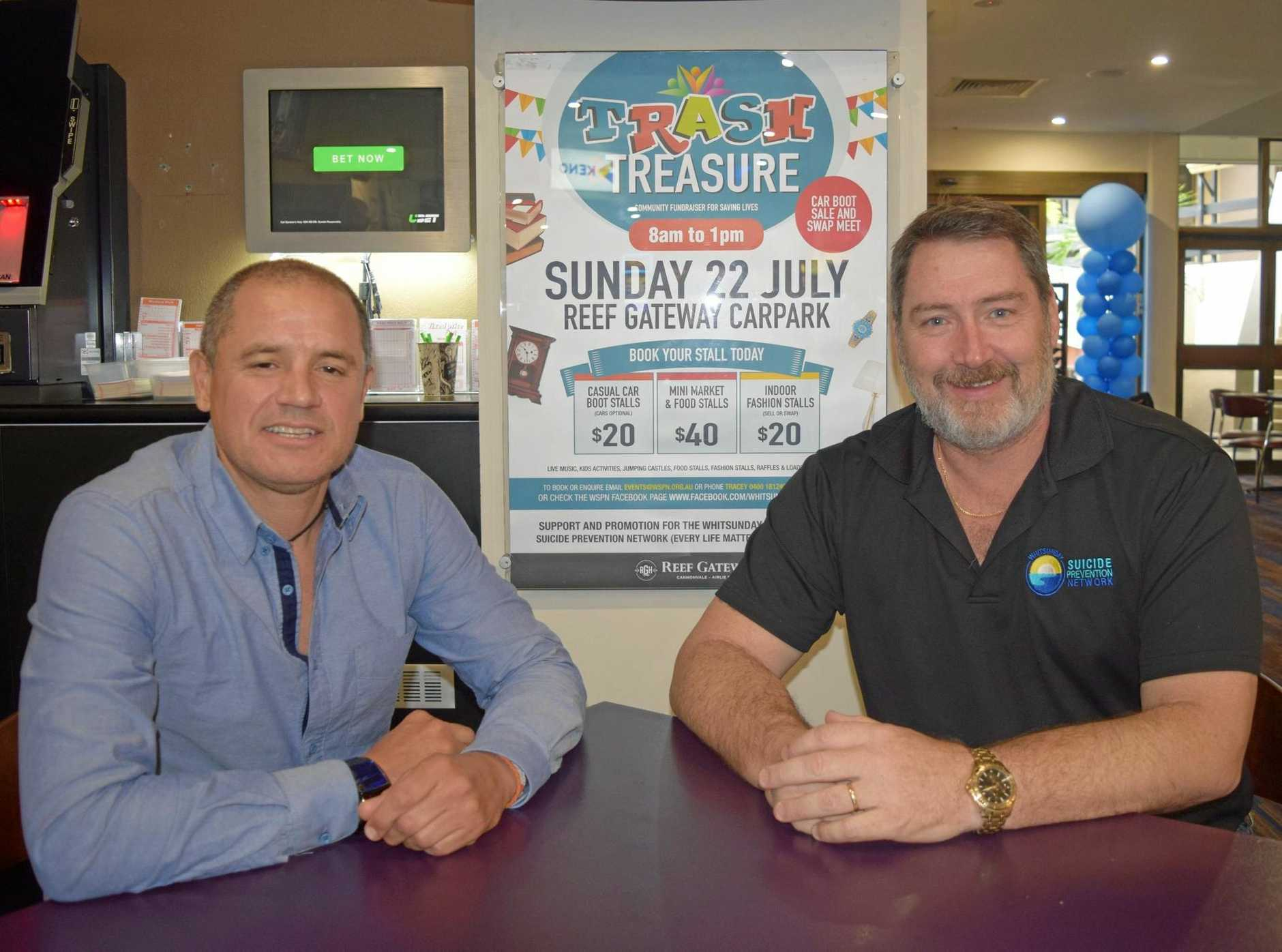 GOOD CAUSE: Mark Wilkins from Reef Gateway Hotel and President of the Whitsunday Suicide Prevention Network Ron Petterson are two of the organisers behind the Trash and Treasure community fundraiser.
