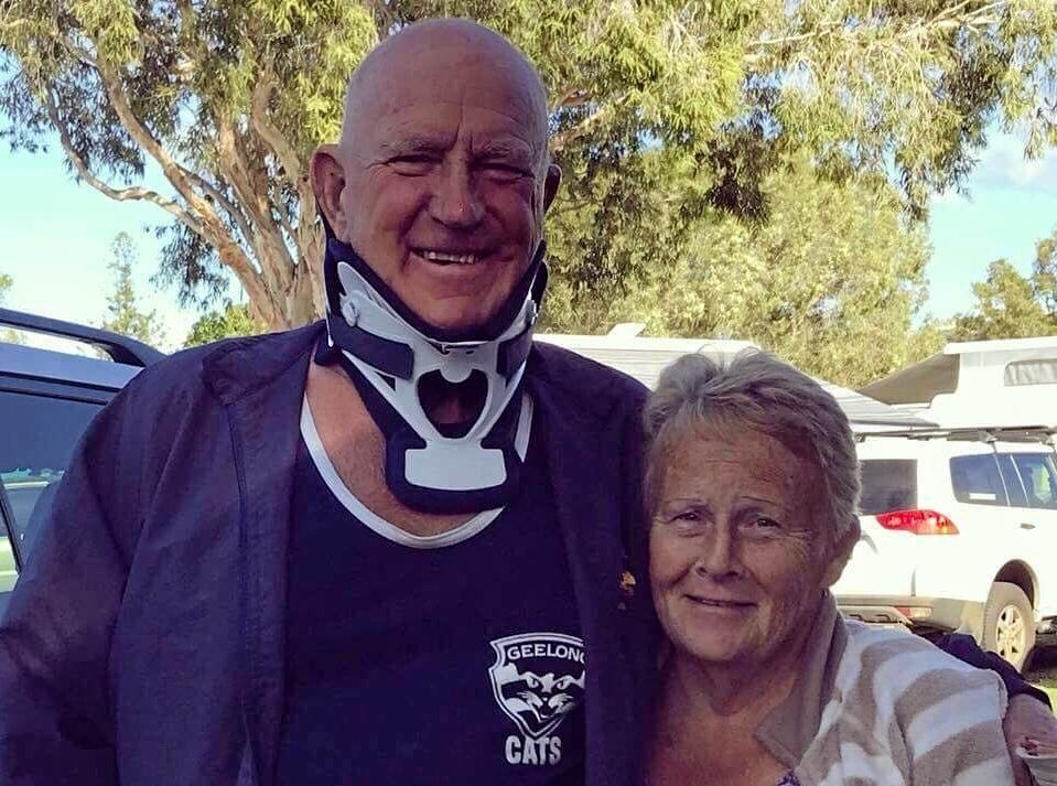THANKS: Colin Barker and wife Judy are thankful to all who helped after a body boarding accident.