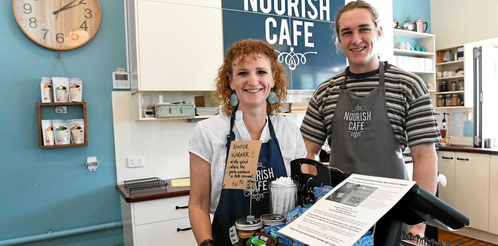 STAFF CARE: Nourish Cafe owner Judy Plath with valued staff member Josh Gaddes.