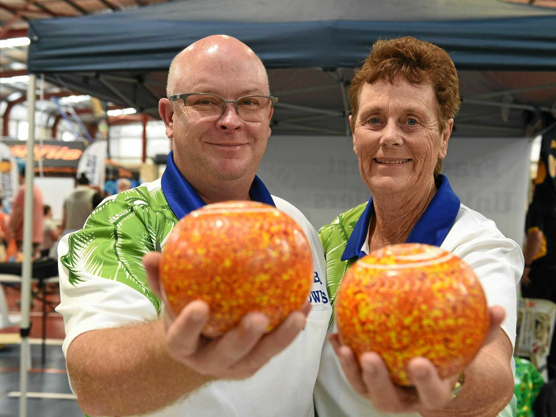 Sports Plus Expo at Hervey Bay PCYC - Brian Reckenberg and Lesley Brooks from Pialba Bowls Club.