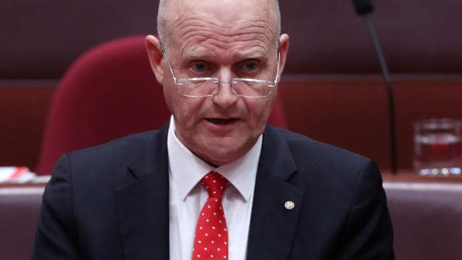 Senator David Leyonhjelm is refusing to apologise to Senator Sarah Hanson-Young. Picture: Gary Ramage