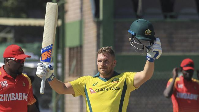 Aaron Finch whacked the highest ever international T20 score against Zimbawae. Picture: AP