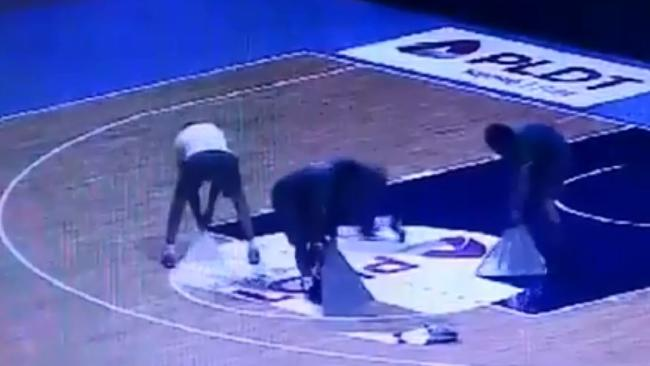 Boomers officials rip up floor decals a day before the now infamous clash.