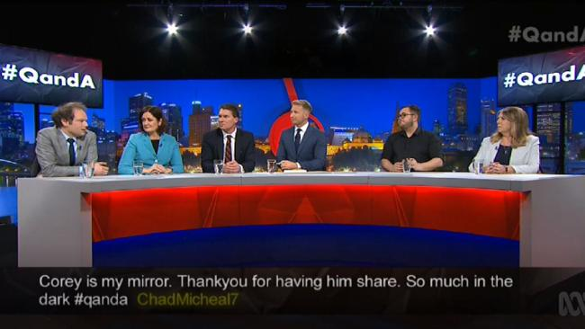 A QandA viewer tweets support for Corey White (above with Monday's fellow panellists) after he reveals his horrific childhood.